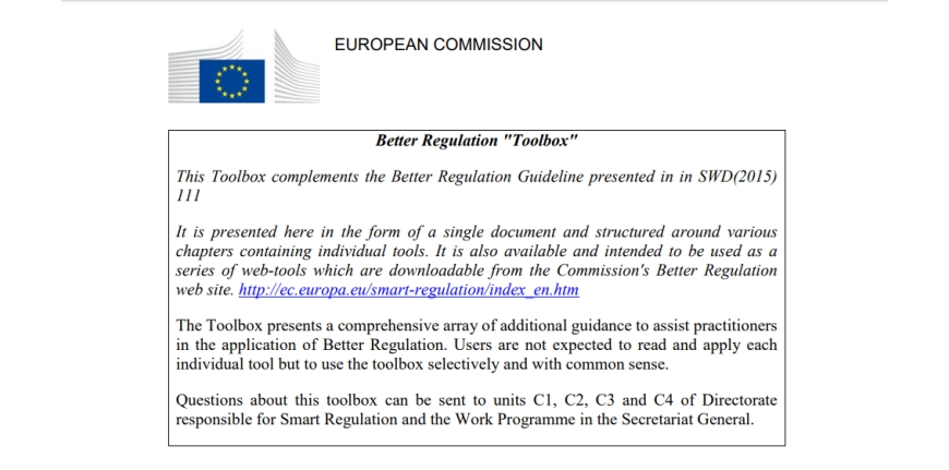 Better Regulation Toolbox 2015