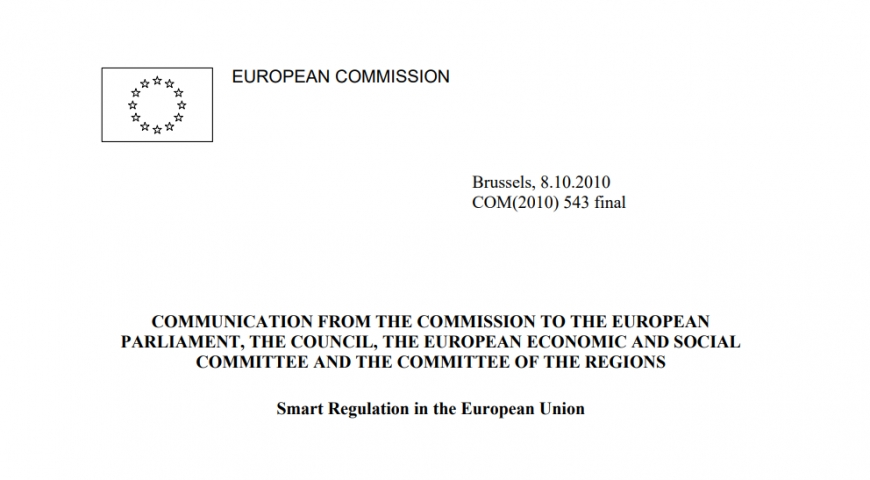 European Commission - Smart Regulation in the European Union 2010